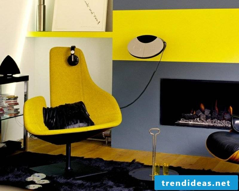 Trend colors 2017 Wall design signal yellow gray