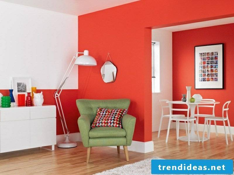 Wall colors ideas living room red and white green armchair