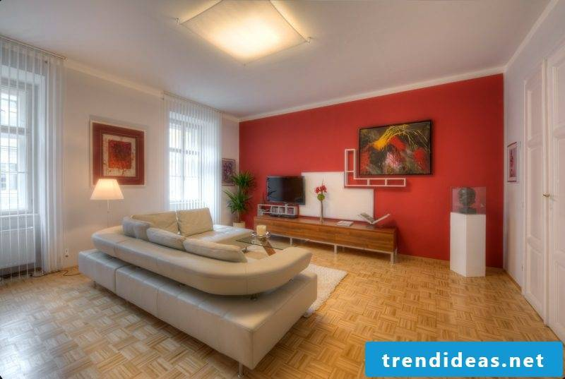 Wall colors living room accent wall red