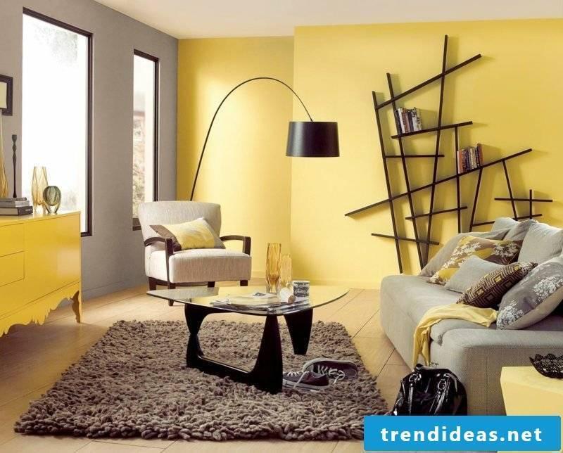 Wall design living room yellow and gray