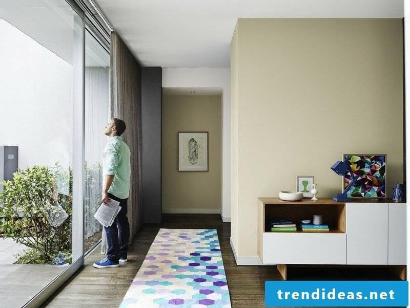 Terraccota color wall living room