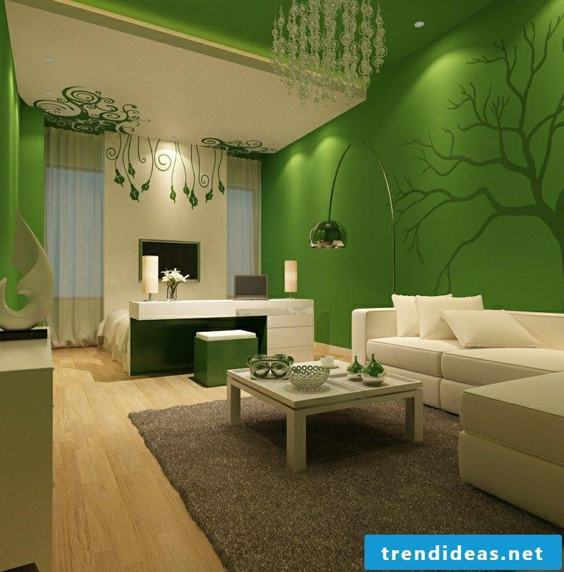 Wall colors green and white living room