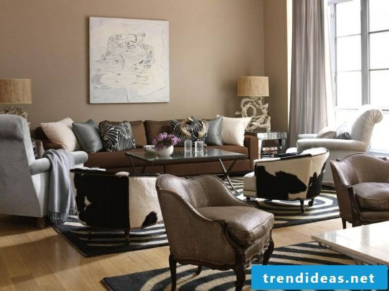 Wall design Living room chocolate color
