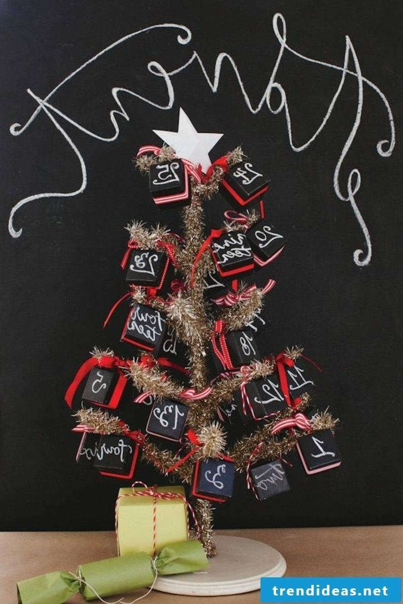 Advent calendar from mini boxes creative ideas Christmas decoration