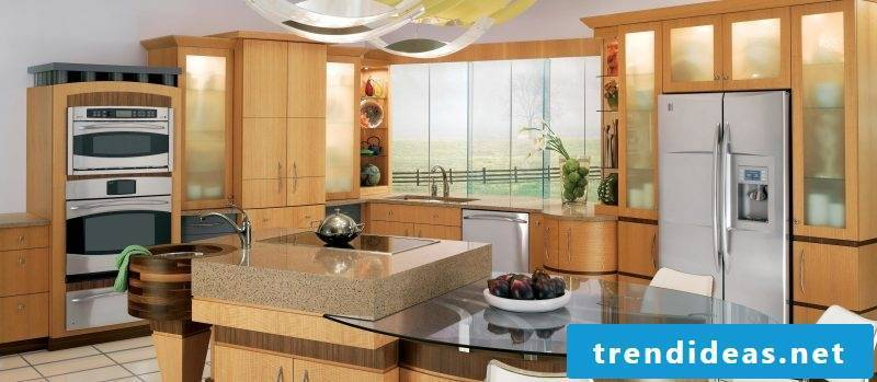 Kitchen tops combination of glass and granite
