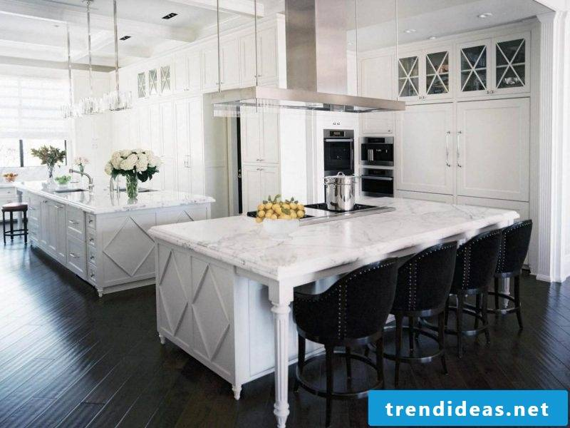 Kitchen tops marble in white