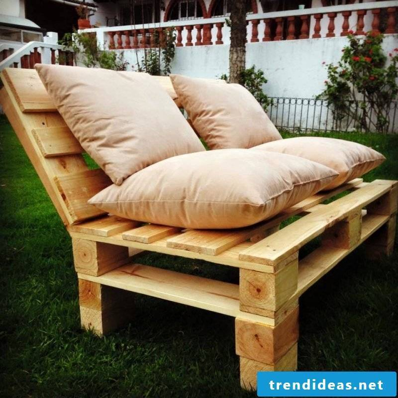Sofa made of europallets only as a bench in the garden