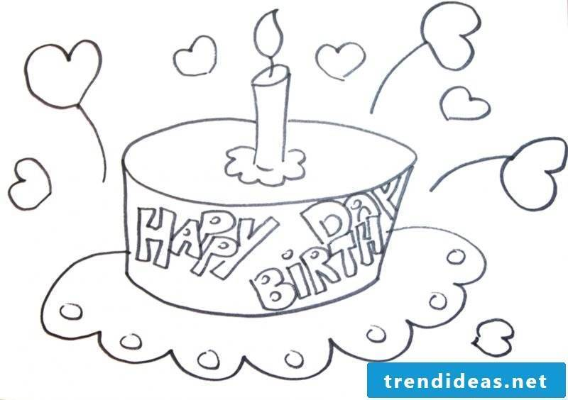 Birthday cake pictures coloring pictures