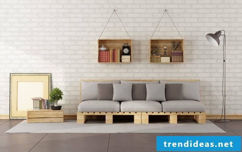 Sofa made of Euro pallets with cushions