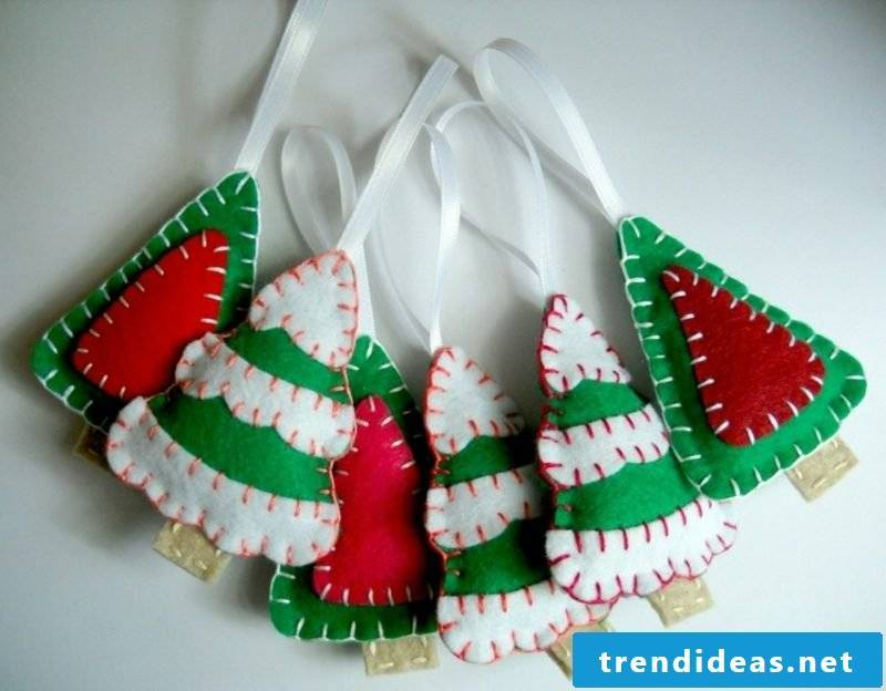 Felt Christmas trees themselves make crafting instructions for Christmas