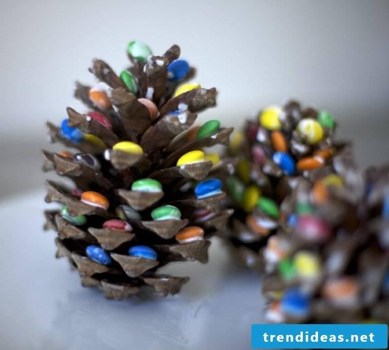 Handicraft instructions for Christmas originally decorated pine cones