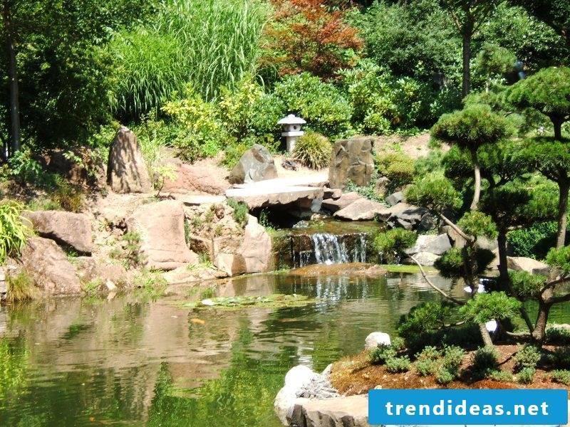 Zen garden with waterfall