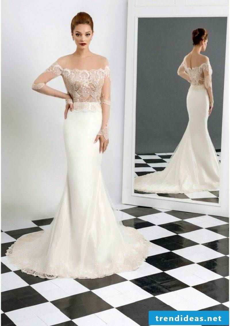 strapless bridal gown with lace bodice