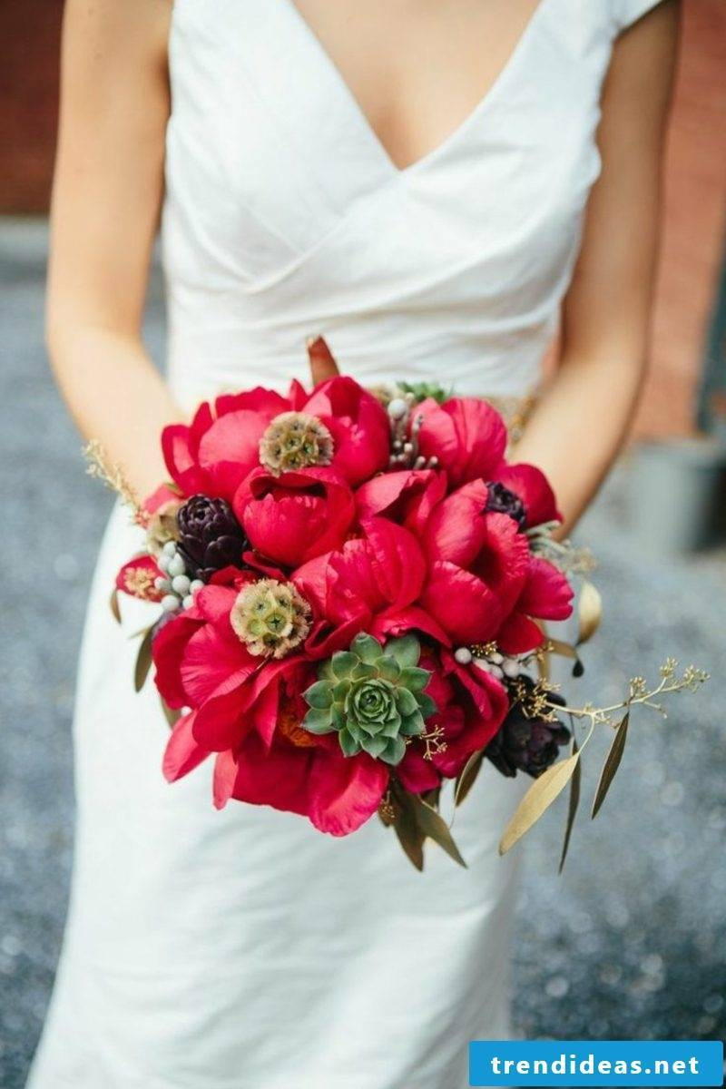Bridal bouquet of red tulips