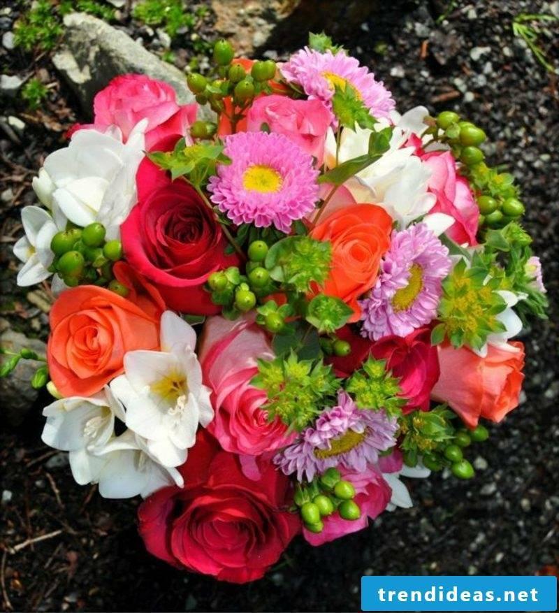 Bridal bouquet of summer flowers