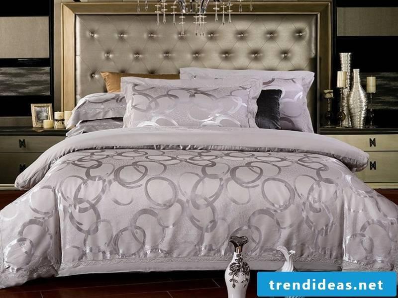 designer purple and gray luxury bed linen