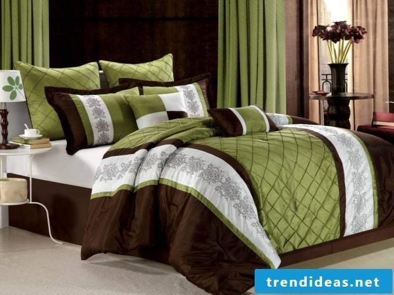 green-brown luxury bed linen