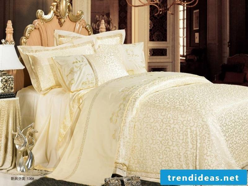 Delicate champagne luxury bedding