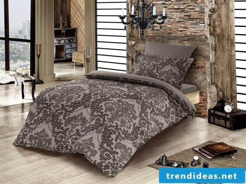 gray brown satin bed linen