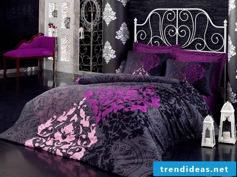 beautiful purple-gray luxury bed linen