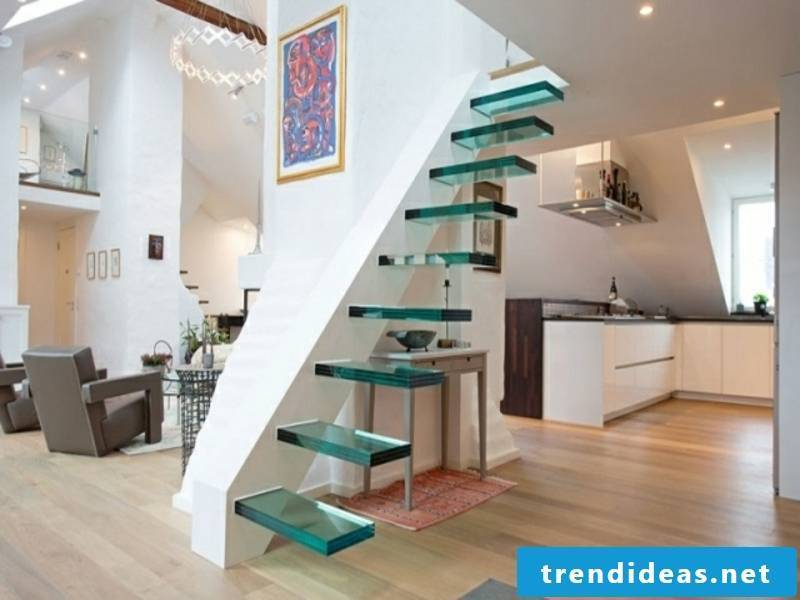 modern cantilevered glass staircases