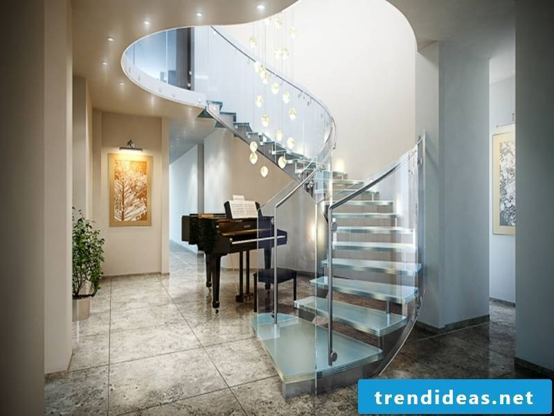 Music and modern stairs made of glass