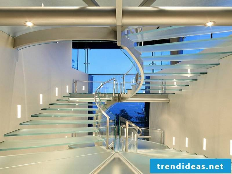 Glass corridor and glass stairs