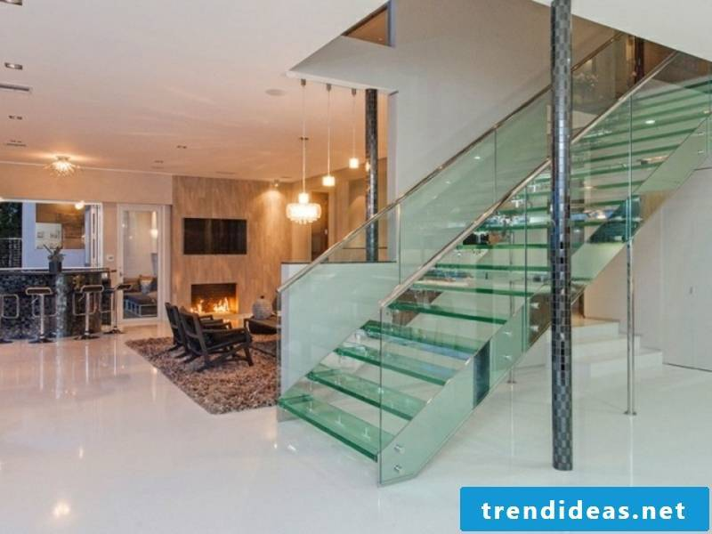 straight modern glass staircase