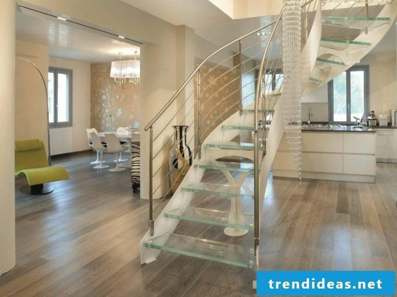 beautiful elegant modernist glass staircase