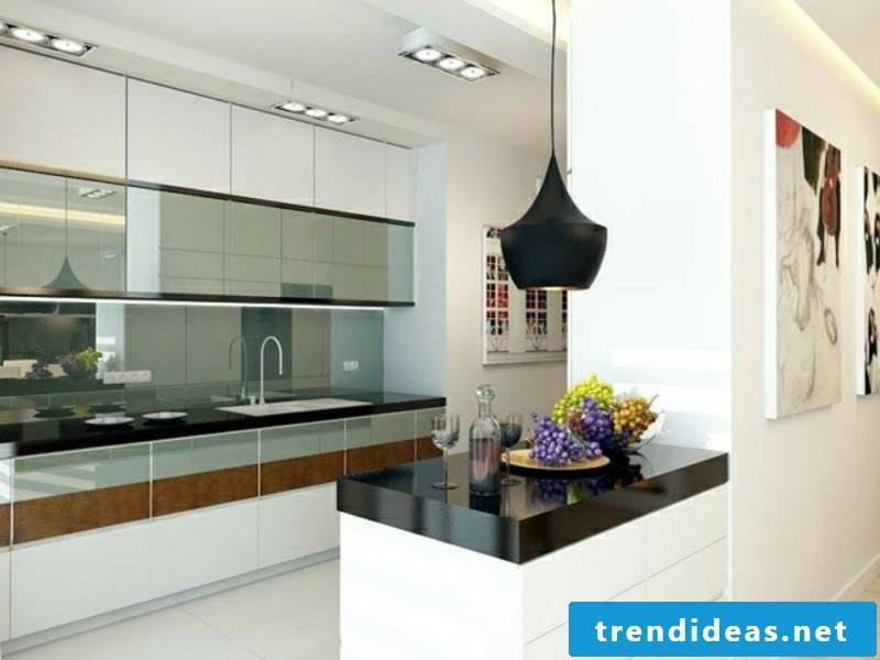designer kitchen island in black and white