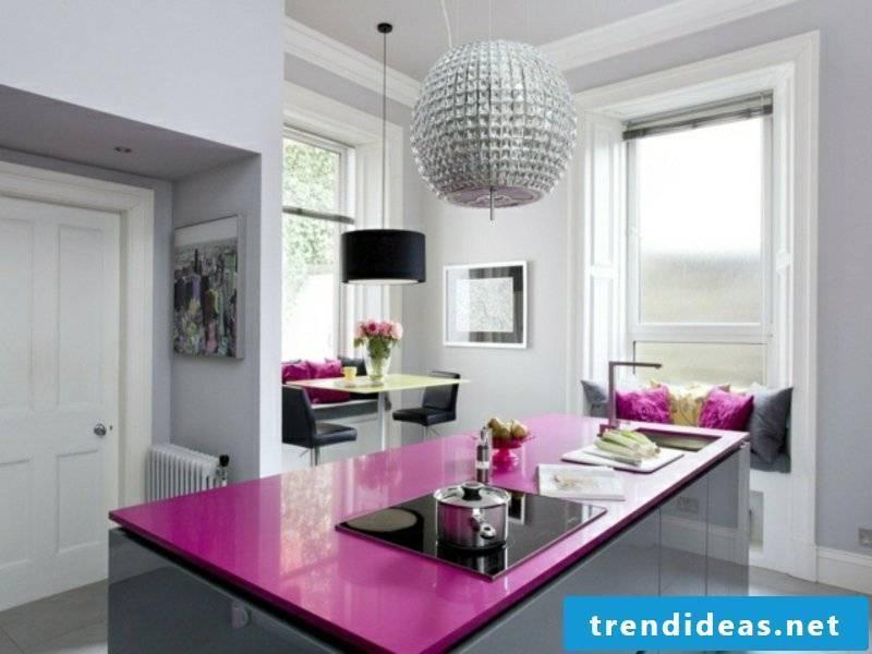 purple work surface on the kitchen island