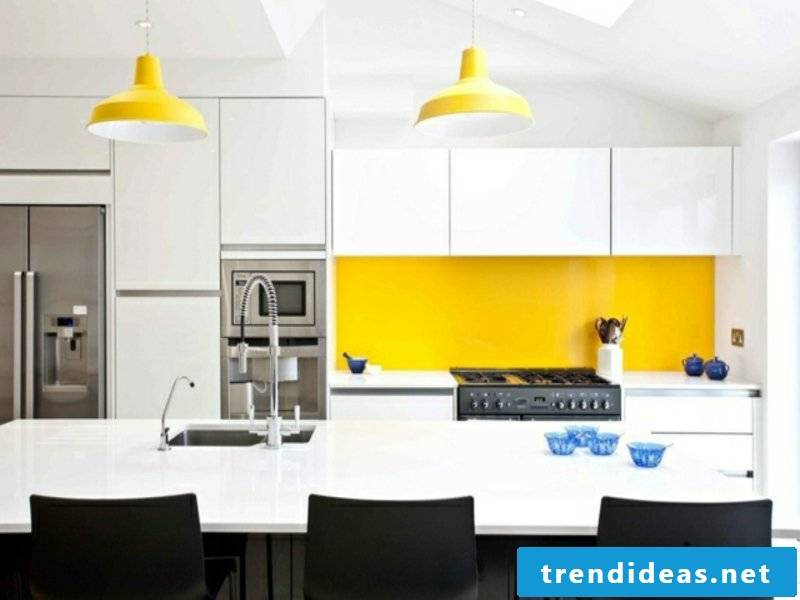 original yellow accents beside the kitchen island