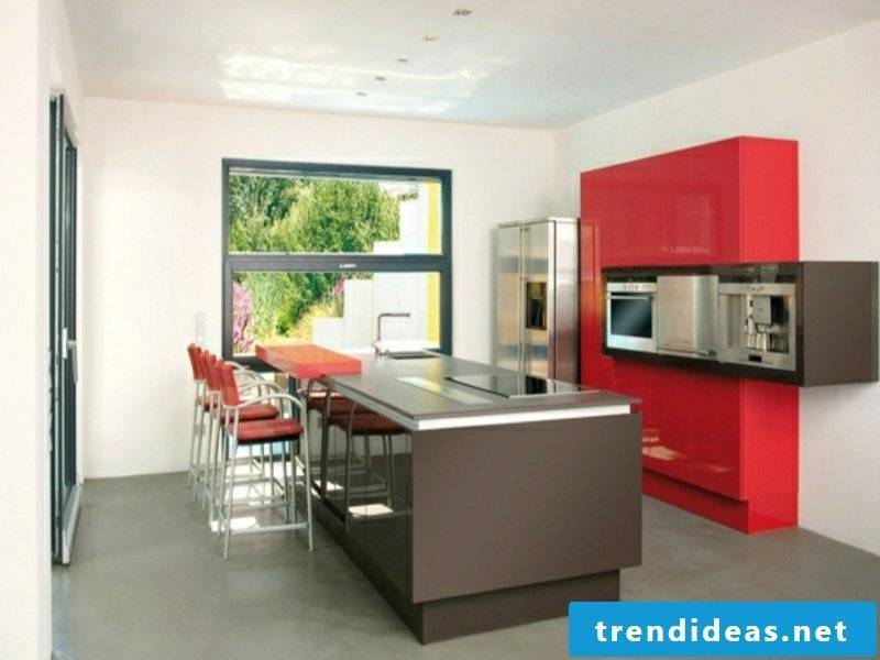 kitchen island in gray and red accents