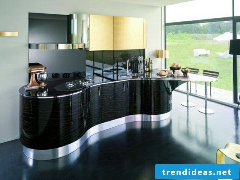 black wavy kitchen island