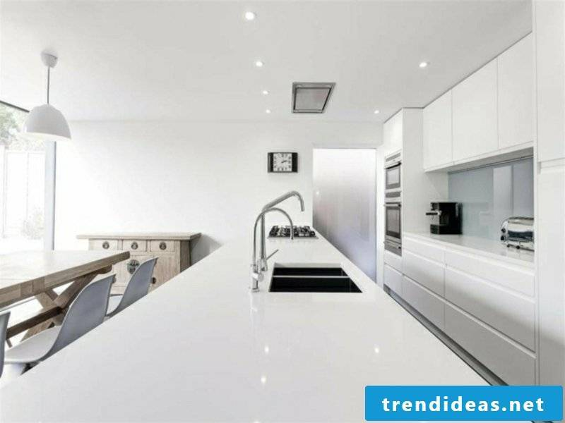 kitchen island made of white mineral material