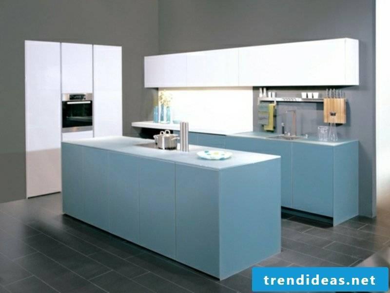 designer sky blue kitchen island