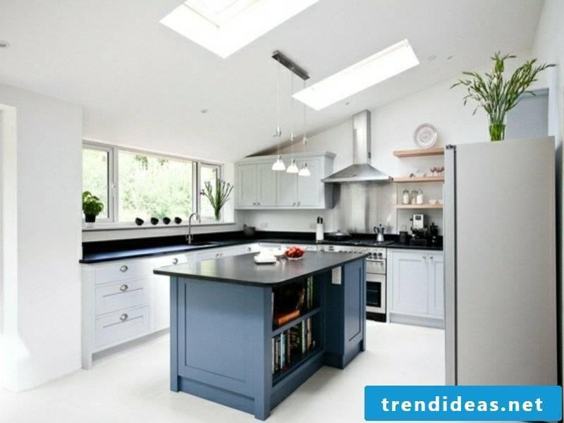 modern gray kitchen island in the white kitchen