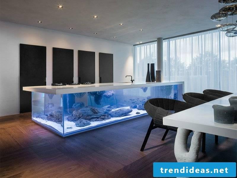 modern kitchen island with aquarium