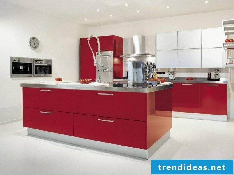beautiful red kitchen island