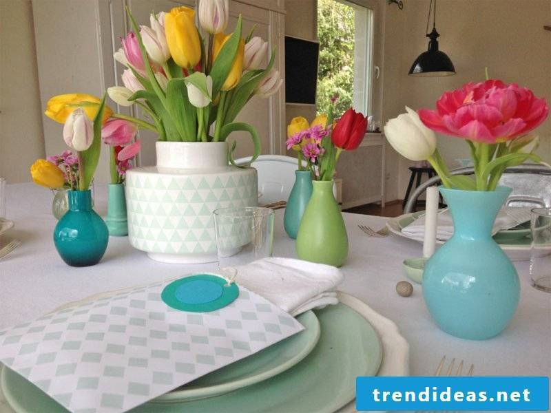 fresh tulips at the table decorations