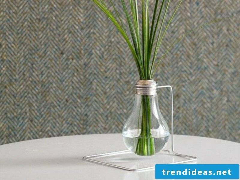vase of light bulb and grass