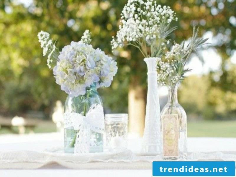 glass pots of flowers