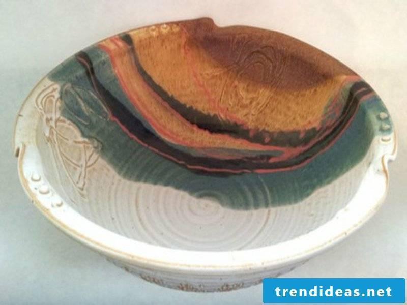 beautiful colorful ceramic fruit bowl