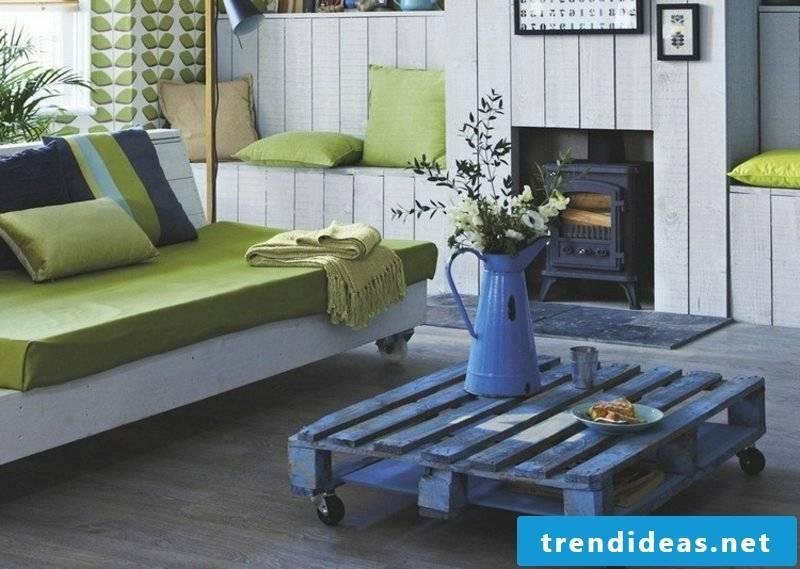 Corner sofa made of pallets