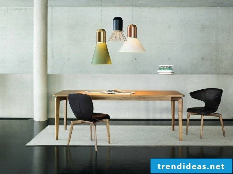 Colorful pendant lights in different colors