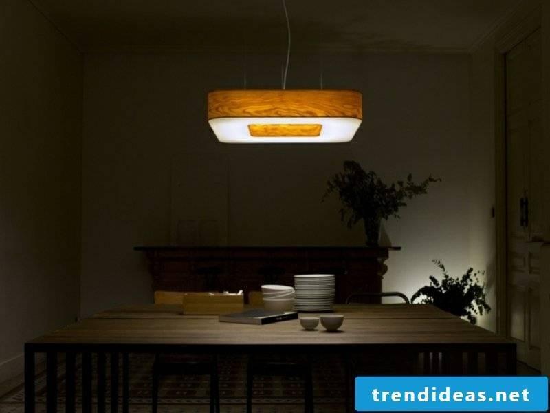 huge wooden dining room lamp