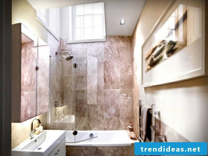 Glass wall with two wings in the small bathroom