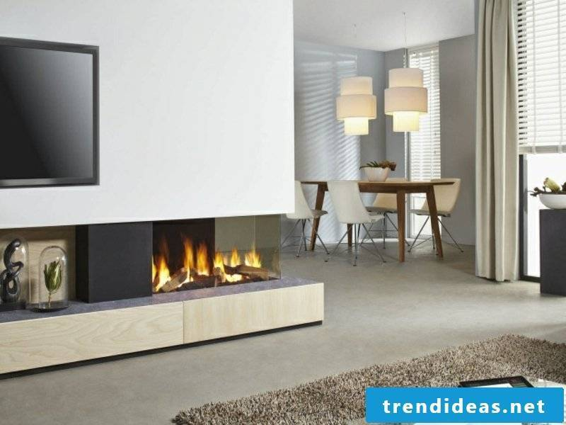 extremely modern fireplace in the living room