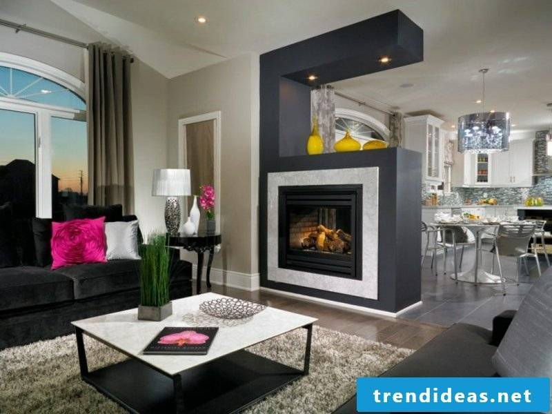 large wood burning fireplace in the living room