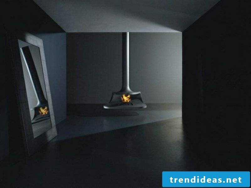 beautiful modern dark fireplace